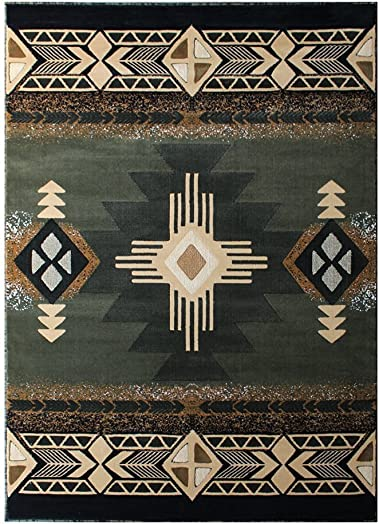 Champion Rugs South West Runner Rug Green Design CR53 8 Feet X 10 Feet