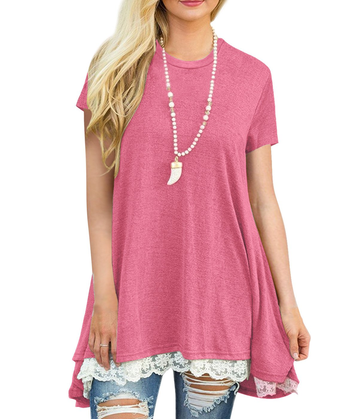 Rdfmy Women's Lace Short Sleeve Tops Casual Round Neck Top Blouses Pink S