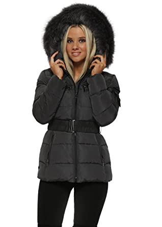 a317aff4be16 French Boutique Grey Quilted Faux Fur Hooded Puffer Coat UK 16 Grey ...