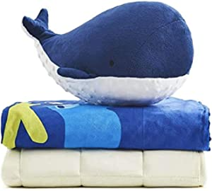 YnM Kids Weighted Blanket — Sensory Minky Material with Premium Glass Beads (Dolphin Set, 40''x50'' 7lbs), Suit for One Person(~60lb) Use on Twin Bed