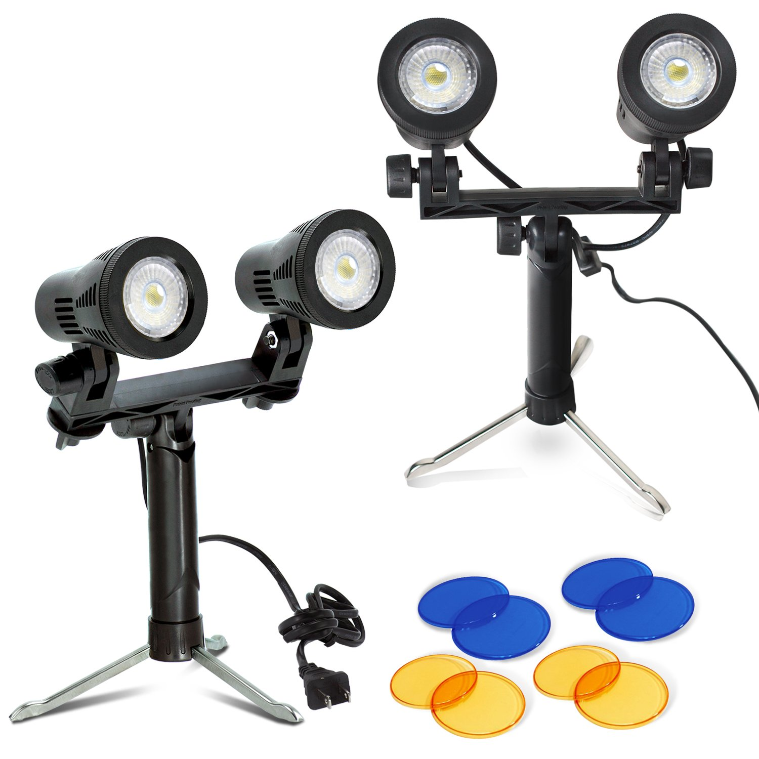 Julius Studio 2 sets Portable Continuous Double Head LED Light, Table Top Mini Lighting Kit with Blue and Yellow Color Gel Filters, Photography Video Studio Set, JSAG374 by Julius Studio