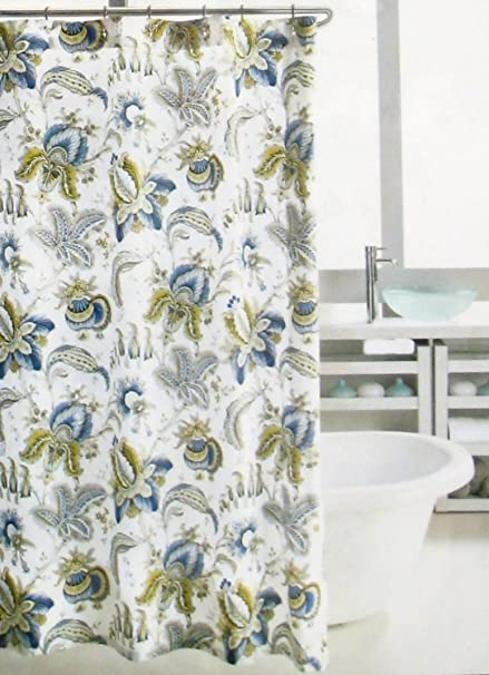 Hillcrest Shower Curtain Amalfi Jacobean Floral Blue Green White Amazonca Home Kitchen