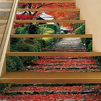 Escaleras de arce tridimensionales simulación escalera pegatinas extraíbles a prueba de agua moda pasos creativos pegatinas de pared decorativas casa {set}: Amazon.es: Bricolaje y herramientas
