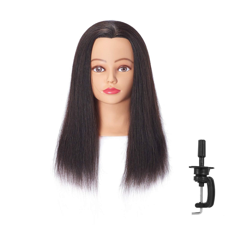Hairingrid Mannequin Head 18''-20''100% Human Hair Hairdresser Cosmetology Mannequin Manikin Training Head Hair and Free Clamp Holder (R71818LB0214H) by Hairingrid