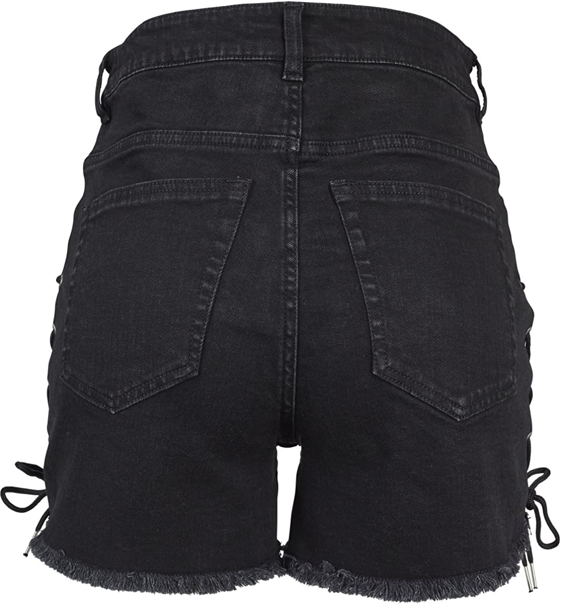 Urban Classics Ladies Highwaist Denim Lace Up Shorts Pantaloncini Donna