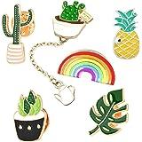 Cute Enamel Lapel Pin Set, 6pcs Cartoon Brooch Pin Badges for Clothes Bags Backpacks - Rainbow Cactus Succulent Leaves Pineap