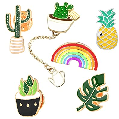 616b1f5f7 GuassLee Cute Enamel Lapel Pin Set - 6pcs Cartoon Brooch Pin Badges Clothes  Bags Backpacks -