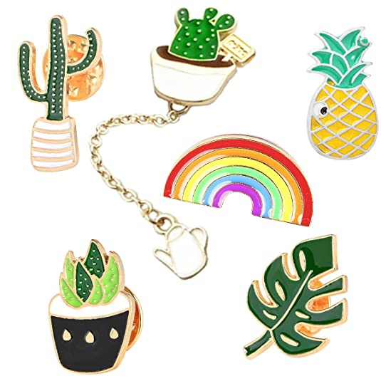 GuassLee Cute Enamel Lapel Pin Set - 6pcs Cartoon Brooch Pin Badges Clothes Bags Backpacks - Rainbow Cactus Succulent Leaves Pineapple