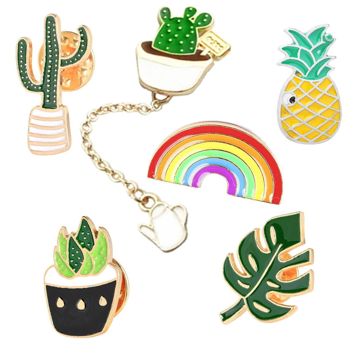 Guass Cute Plant Enamel Pin Set - Cactus Pins Succulent Pins Rainbow Pin Pineapple Pins 6pcs Cute Brooch Pin Set for Clothes Bags Backpacks Lapel Pin Set
