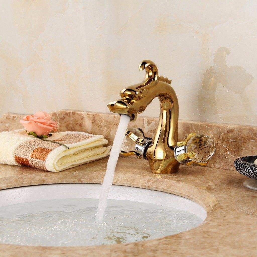 Hlluya Wasserhahn für Waschbecken Küche Küche Küche Die Messing antik Einzelne Bohrung Erkältung Waschbecken Waschbecken Wasser Mischventil Wasserhahn Gold cce2ce