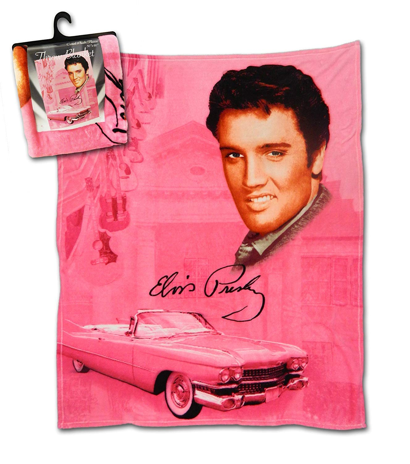 Midsouth Products Elvis Throw Blanket 50 X 60 Pink With Guitars