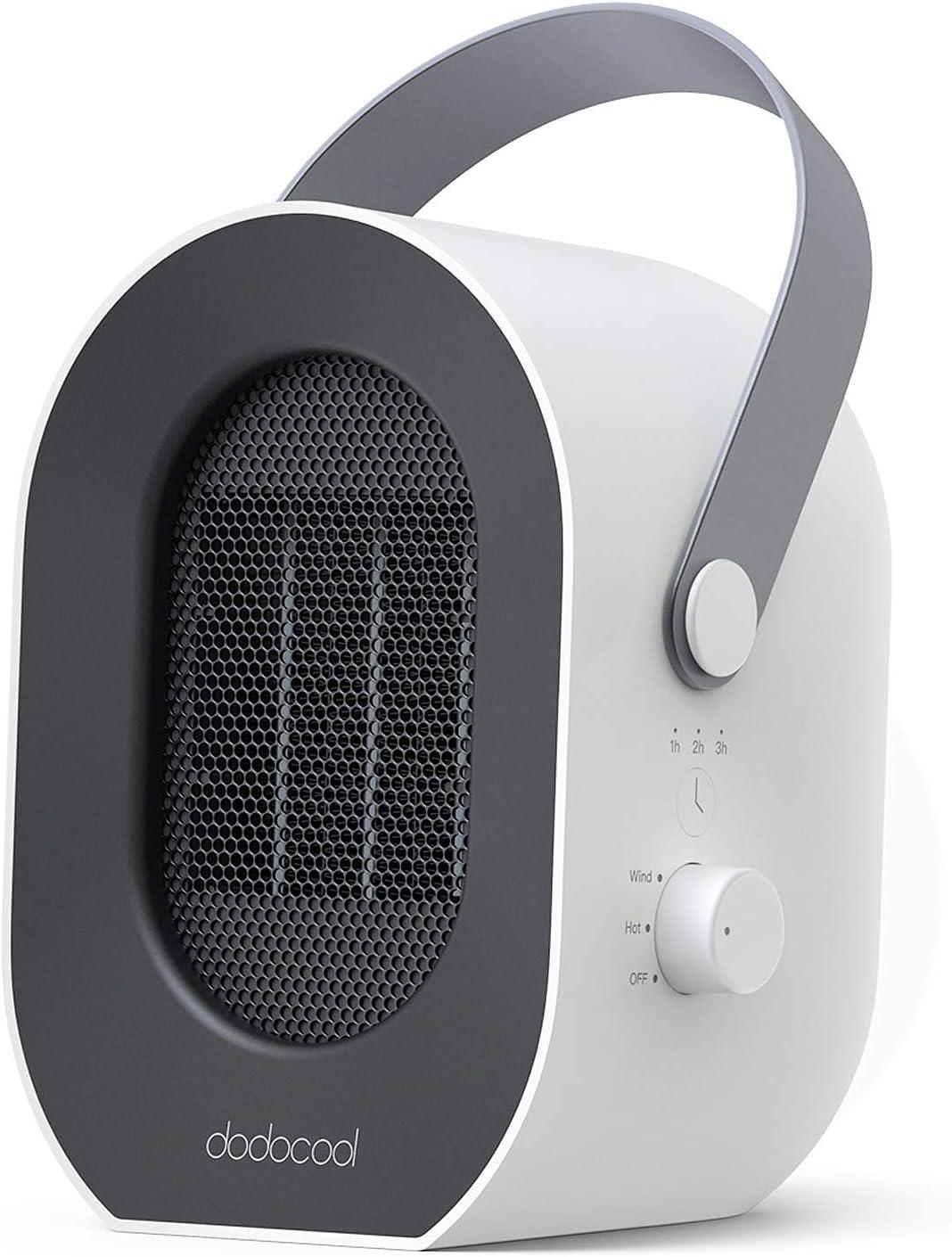 dodocool Calefactor Eléctrico, Mini Calefactor Baño, 3 Segundos Calentamiento Rápido, 1/2/3/6 Horas Tiempo Preestablecido, Cuerda Portátil, Apagado Automático, Calentador Habitación, Calefacción