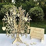 Unique Wedding Guest Book Alternative, Rustic Guest Registry with 50pcs Wooden Hearts, Wood Tree Frame Drop Box Guest…