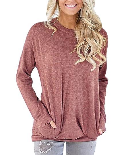 Cotton Plain Long Sleeve Shirts Tops Blouse Sweatshirt for Women Crew Neck  Casual Loose Soft Size
