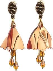 Oscar De La Renta Impatiens Gold Drop Earrings