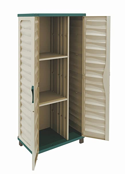Delicieux Home Source   Outdoor Garden Storage Cabinet With Partition Cupboard 2  Shelves Beige