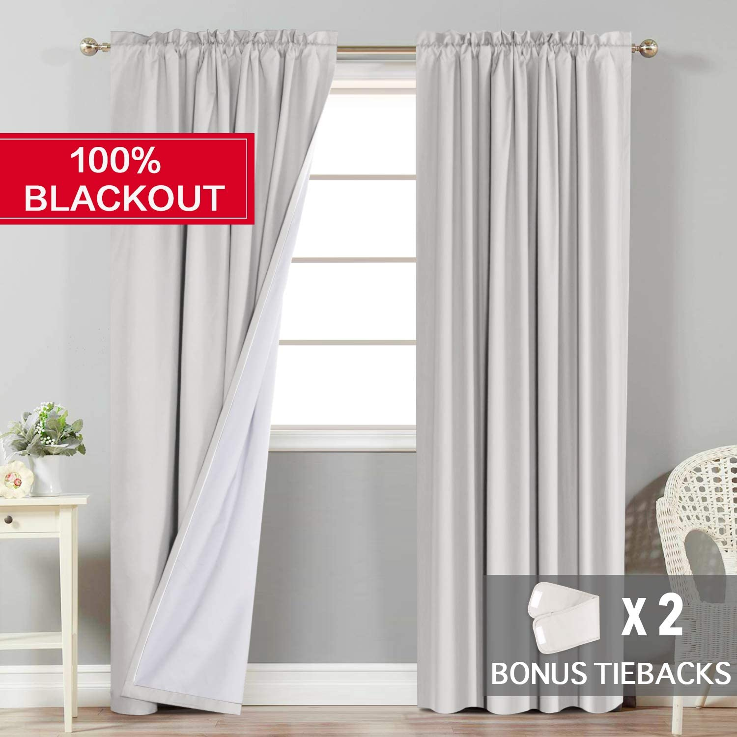 2 Bonus Tie-Backs Rod Pocket Natural Flamingo P 100/% Light Blocking Curtains//Drapes//Draperies Full Blackout Curtains Pair with White Backing for Bedroom 63 inch Long