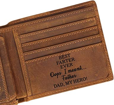Personalised HAPPY BIRTHDAY Engraved Daddy Wallet gift brown or black