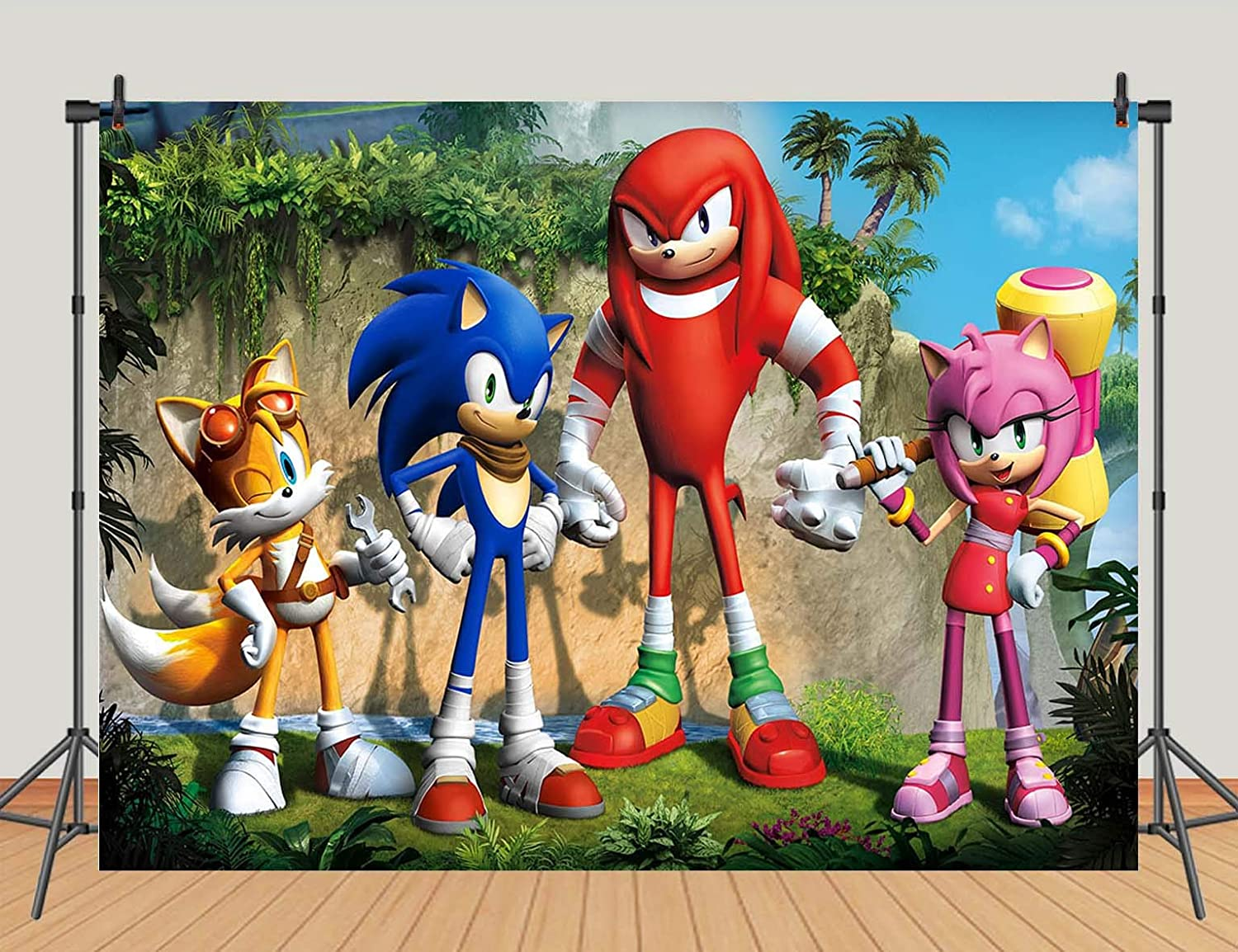 Cartoon Movie Hero Sonic Photography Backdrops Sonic Boom Theme Photo Background for Kids Birthday Party Decoration Baby Shower Cake Table Banner Studio Props Vinyl 7x5ft