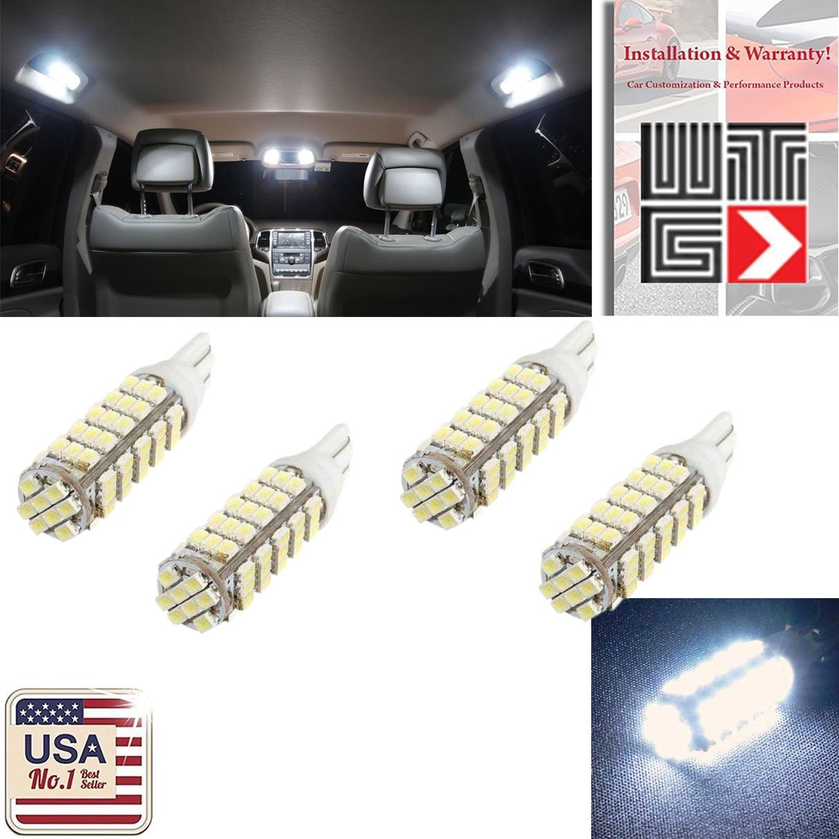 Vito 4x Super Bright White 6000k T10 Wedge 68 Smd 3020 2003 Saturn Ion Dash Lights Led Light Bulbs W5w 2825 158 192 168 194 For Car Boot Trunk Map Number Plate