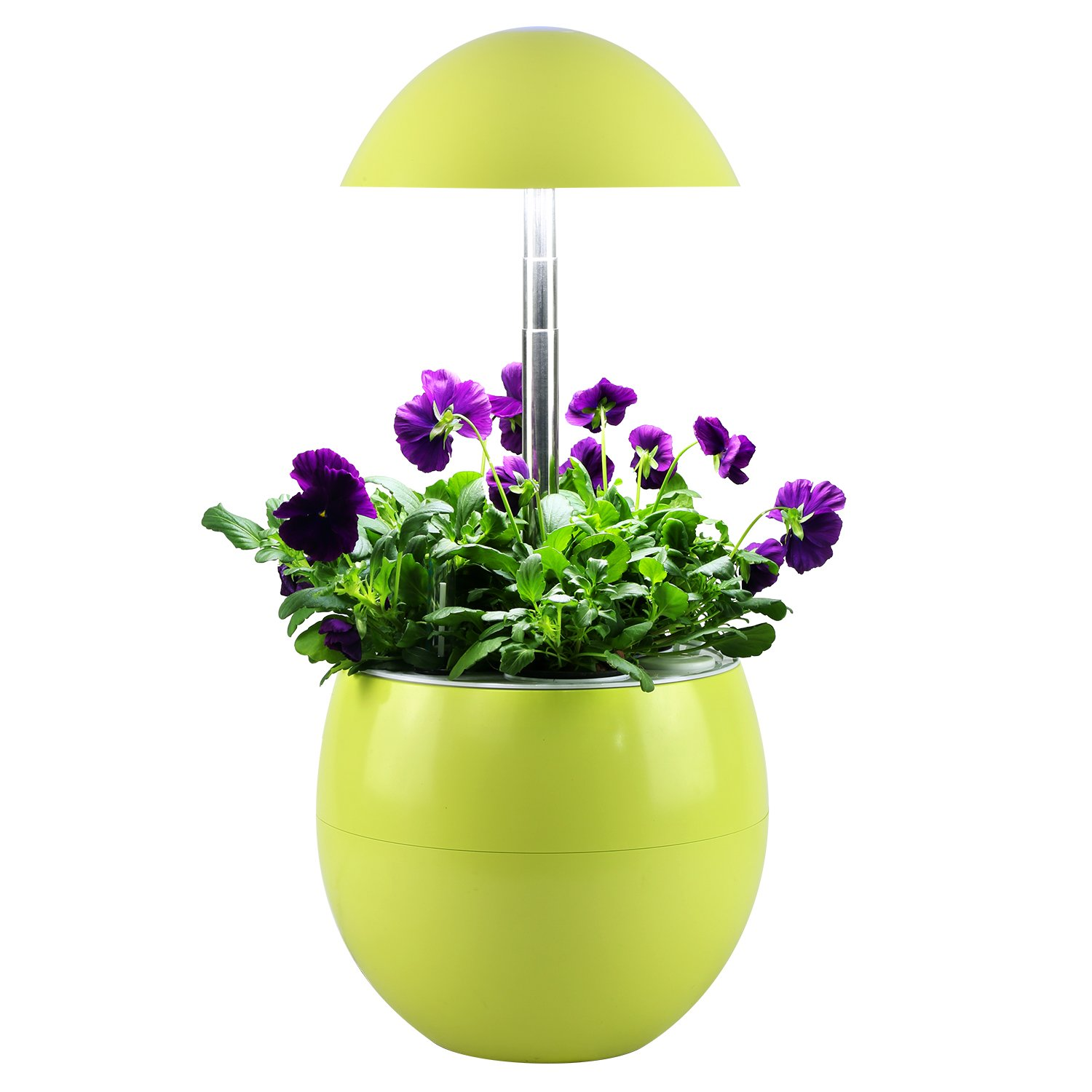 Decorative Indoor Garden Lamp Hydroponic Self Watering System, Complete Planter Pod Kit, Seeds & Led Light Grows Herbs, Flowers, Succulents in Kitchen or Any Room by Domestic Diva LA (Yellow)
