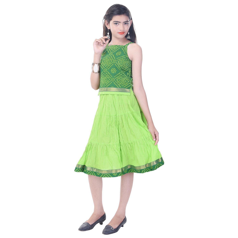 Soundarya Cotton Green Printed Sleeveless Top and Skirt Set