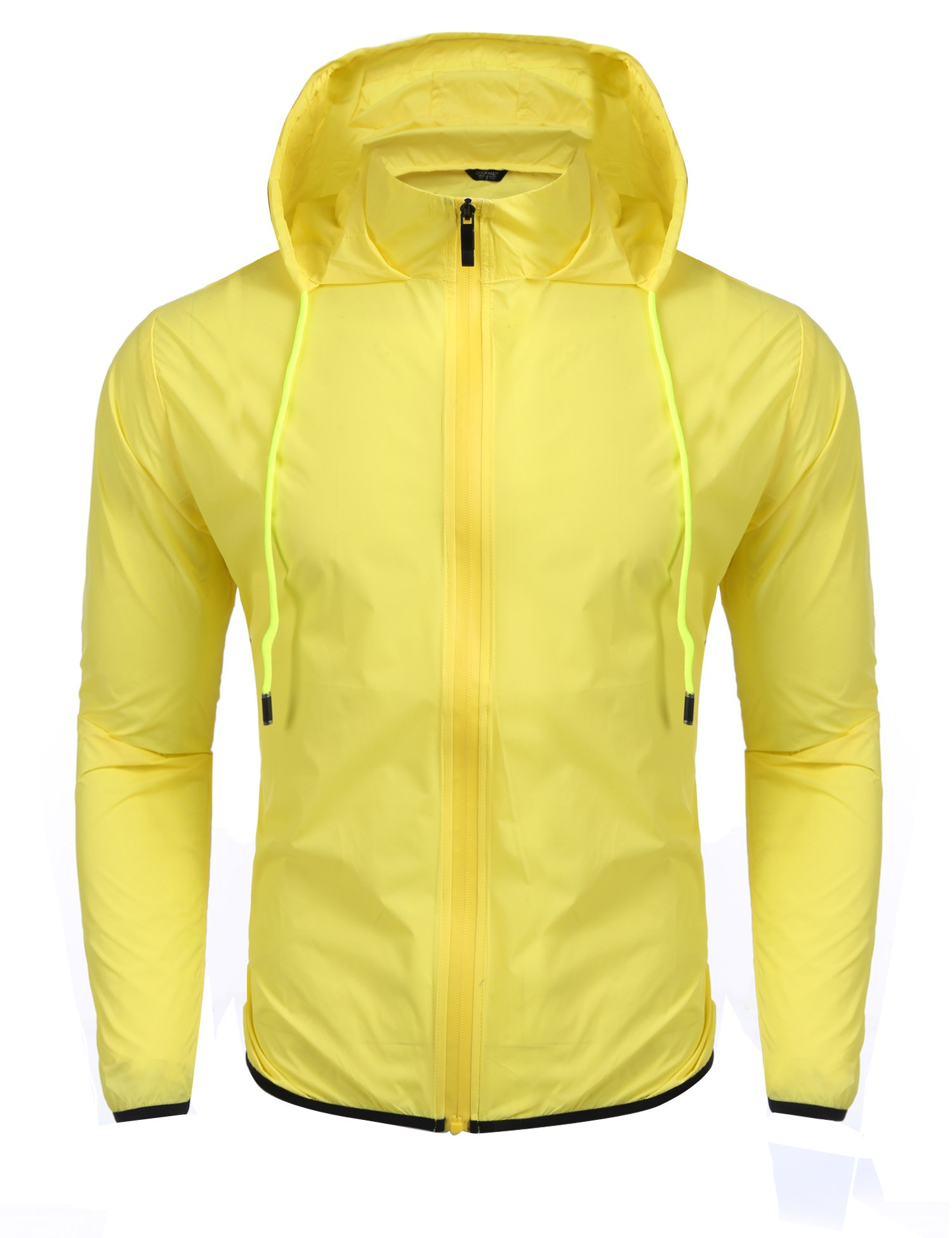 Coofandy Unisex Lightweight Hooded Running Cycling Rain Jacket Outdoor Raincoat, Yellow, XX-Large by COOFANDY