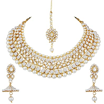 Buy Spargz Gold Plated Ad Stone Kundan Pearl Necklace Earring