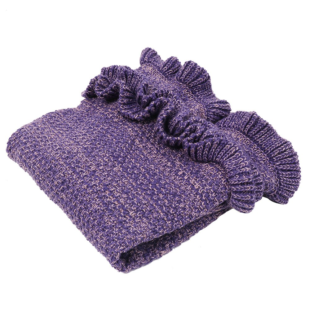AmyHomie Mermaid Tail Blanket, Crochet Knitting Mermaid Blanket, Mermaid Tail Blanket for Kids All Seasons Sleeping Blankets for Girls (55x28in Purple) by AmyHomie (Image #3)