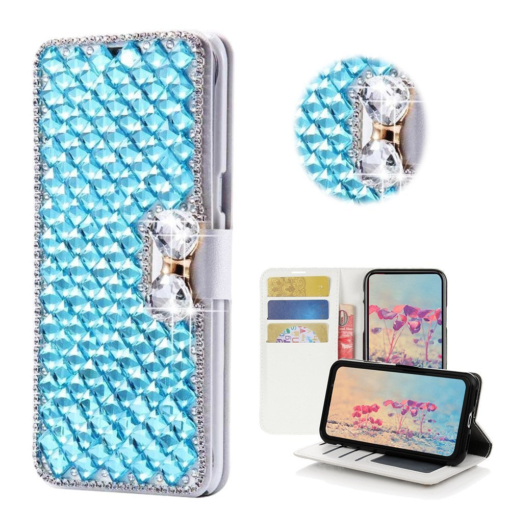 Galaxy J7 V Case,Yaheeda [Card Slot] Design Flip Leather 3D Handmade Bling Crystal Metal Butterfly Flower Rhinestones Diamond Wallet Case Cover for Samsung Galaxy J7 2017/J7 Sky Pro/J7 Perx