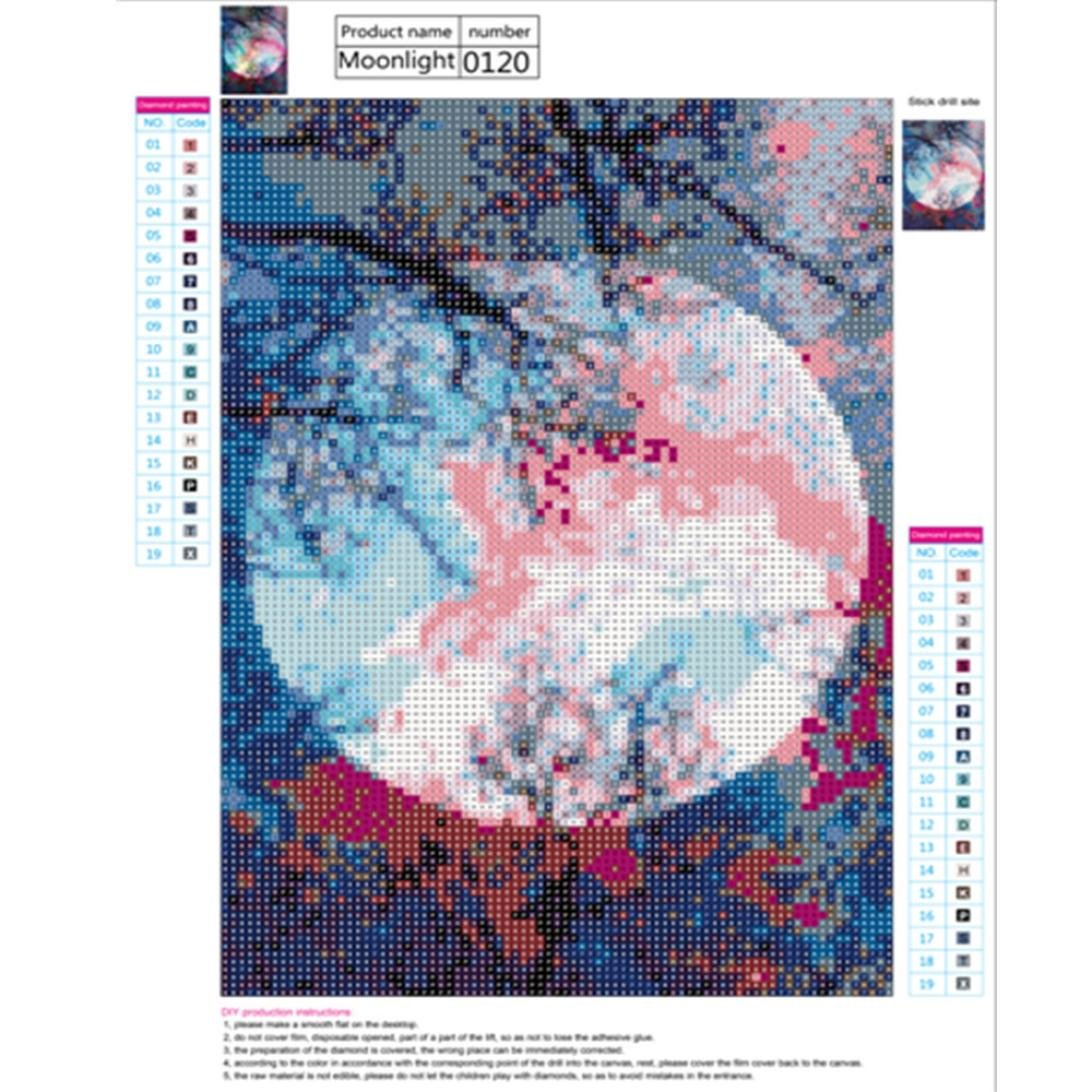 21f315f708 Amazon.com: Cinhent Diamond Painting 5D Bright Colorful Moon On Night Black  Wind High Embroidery Round Rhinestone Paintings Pasted DIY Diamond Cross  Stitch