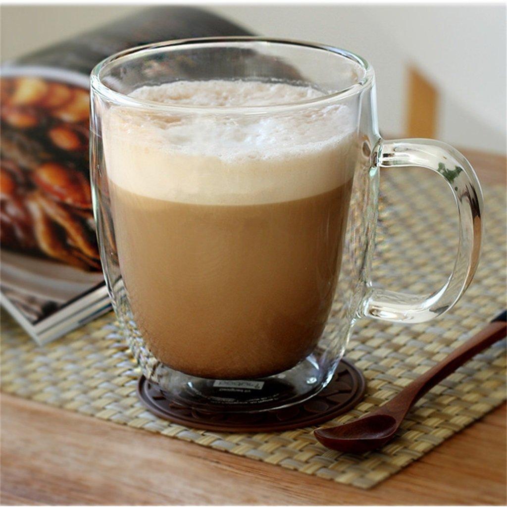 De Alta Temperatura de Doble Capa de Engrosamiento con Mango de Vidrio Transparente Leche de café Leche de Avena Jugo de Leche de té batido de Flores Taza ...
