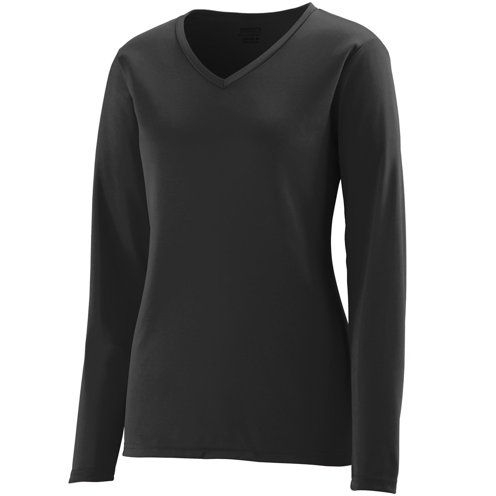 Augusta Sportswear Womens Long Sleeve Wicking T-Shirt, Black, 3X-Large