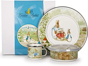 Enamelware - Peter Rabbit Pattern - Kids 3 Piece Giftboxed with 4 Ounce Mug, 14 Ounce Bowl and 8½ Inch Plate