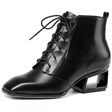 Genuine Leather Women's Square Toe Exquisite Heel Lace Up Handmade Ankle Booties