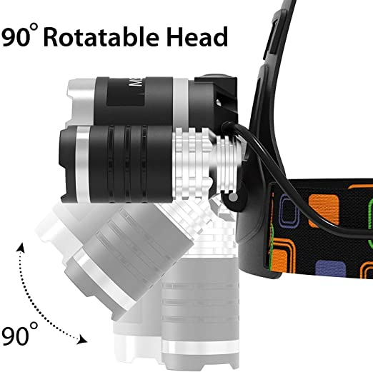 Lampara de Cabeza LED Impermeable Recargable Linterna para Correr Multiuso Cap