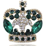 Alilang Antique Synthetic Emerald Green Crystal Rhinestone Golden Brass Crown Brooch Pin