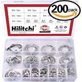 Hilitchi 200-Pcs [15-SIZE] Internal Circlip Snap Retaining Clip Ring Assortment Set - 304 Stainless Steel