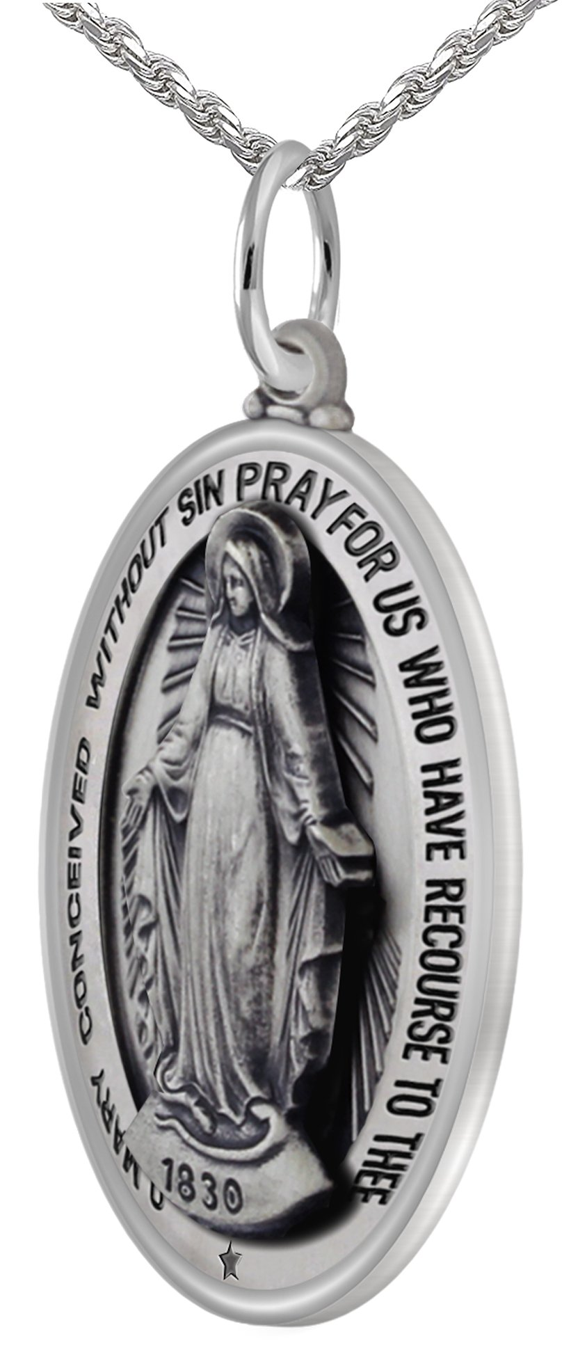 New 0.925 Sterling Silver 1.25'' Oval Miraculous Virgin Mary Antique Finish Pendant 3.3mm Rope Necklace, 18''