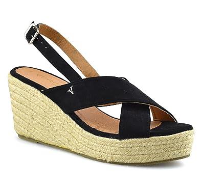 af823b4c87e Verona Ladies Womens Leather Wedge Heel Platform Summer Espadrilles Sandals  Shoes