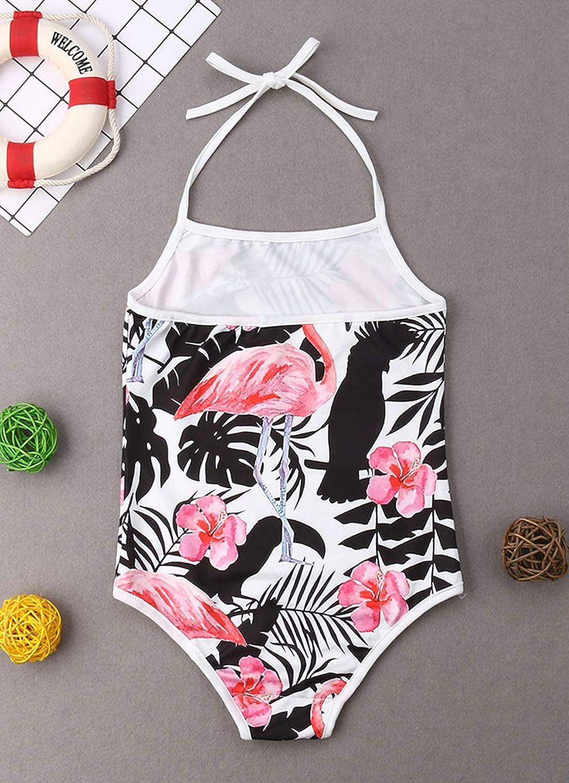 Family Matching Flamingo Print Bathing Suit Mommy/&Me Flower Print Spaghetti Straps Halter Neck Swimsuit Beachwear
