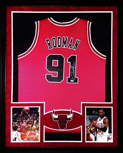 7f0189b1e Image Unavailable. Image not available for. Color  Dennis Rodman Chicago  Bulls Autographed Signed Custom Framed Jersey ...