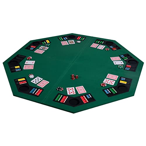 """Costway 1.22m/48"""" Folding Poker Table Top 8 Players Table W/Chip Trays & Drink Holders"""