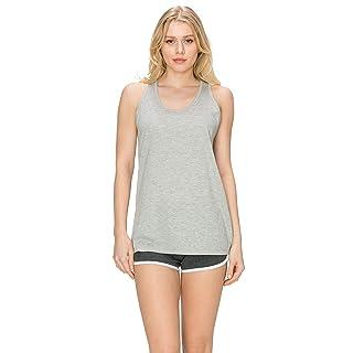 EttelLut Loose Fit Long sleep tank tops for women Cotton Gray L