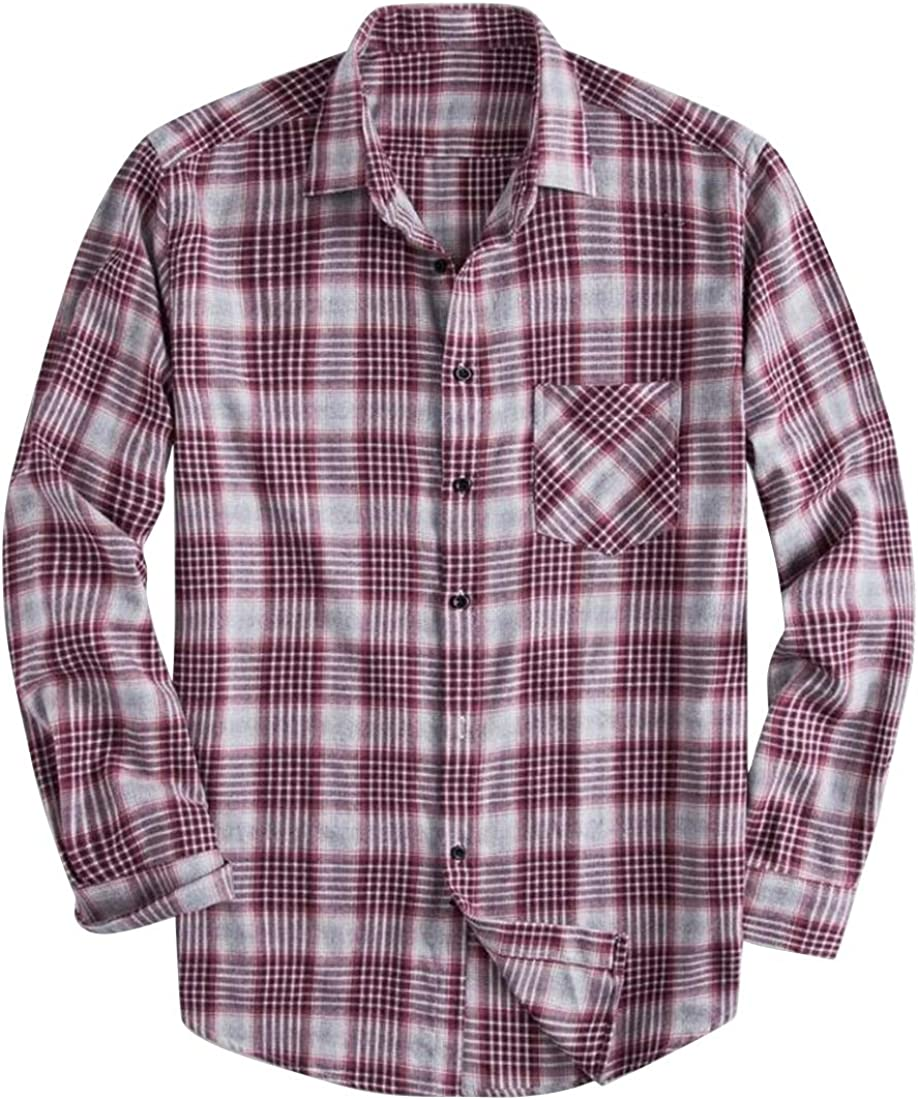 Suncolor8 Mens Plaid Print Cotton Casual Plus Size Relaxed Fit Long Sleeve Button Down Shirts Tops