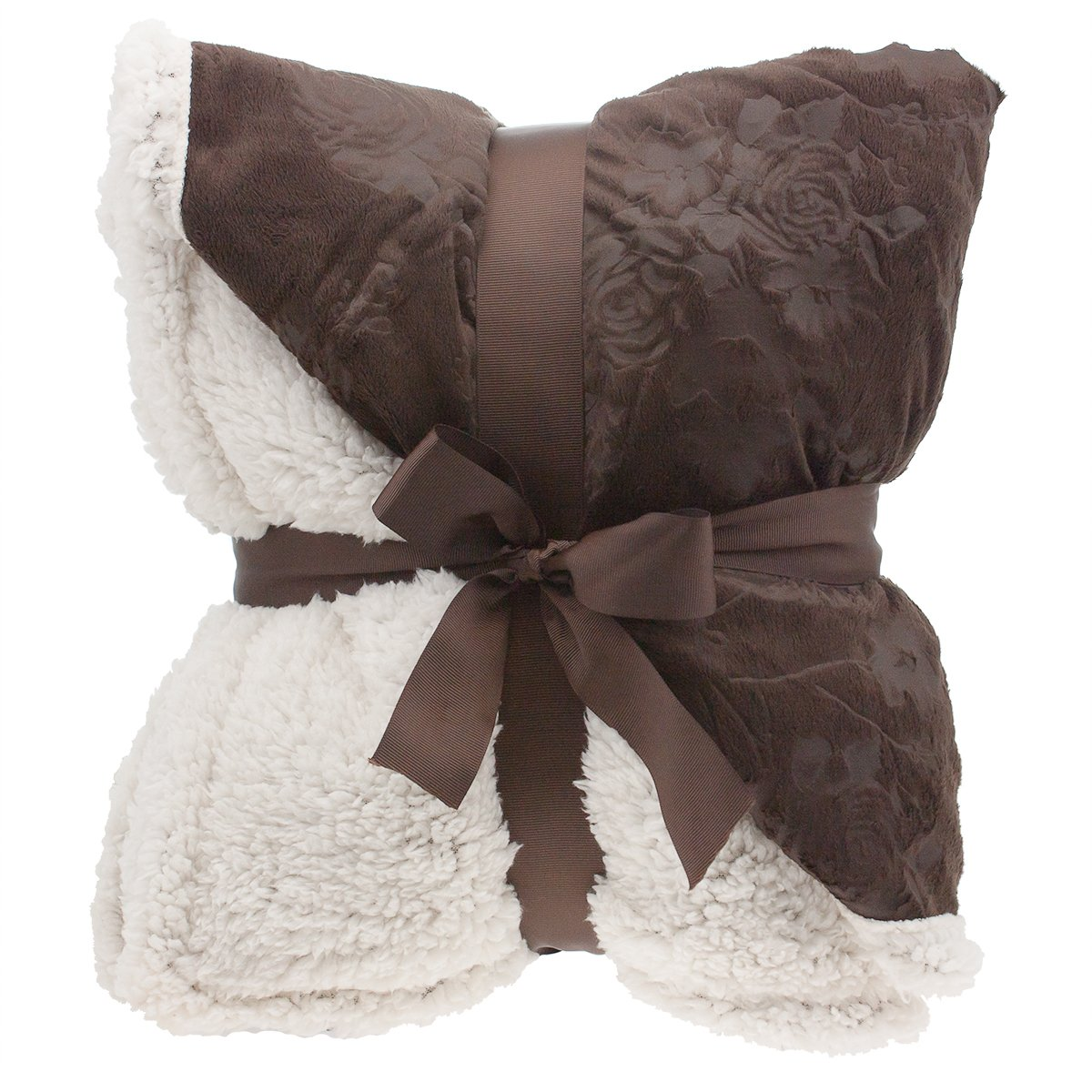 "Floral Embossed Sherpa Throw Blanket 50"" x 60"" Reversible Textured Fuzzy Soft Chocolate"