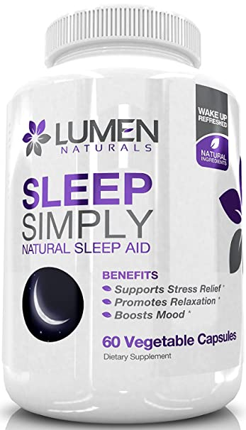 Sleep Simply - Natural Sleep Aid Formula with Valerian Root, Tryptophan, Melatonin, Chamomile