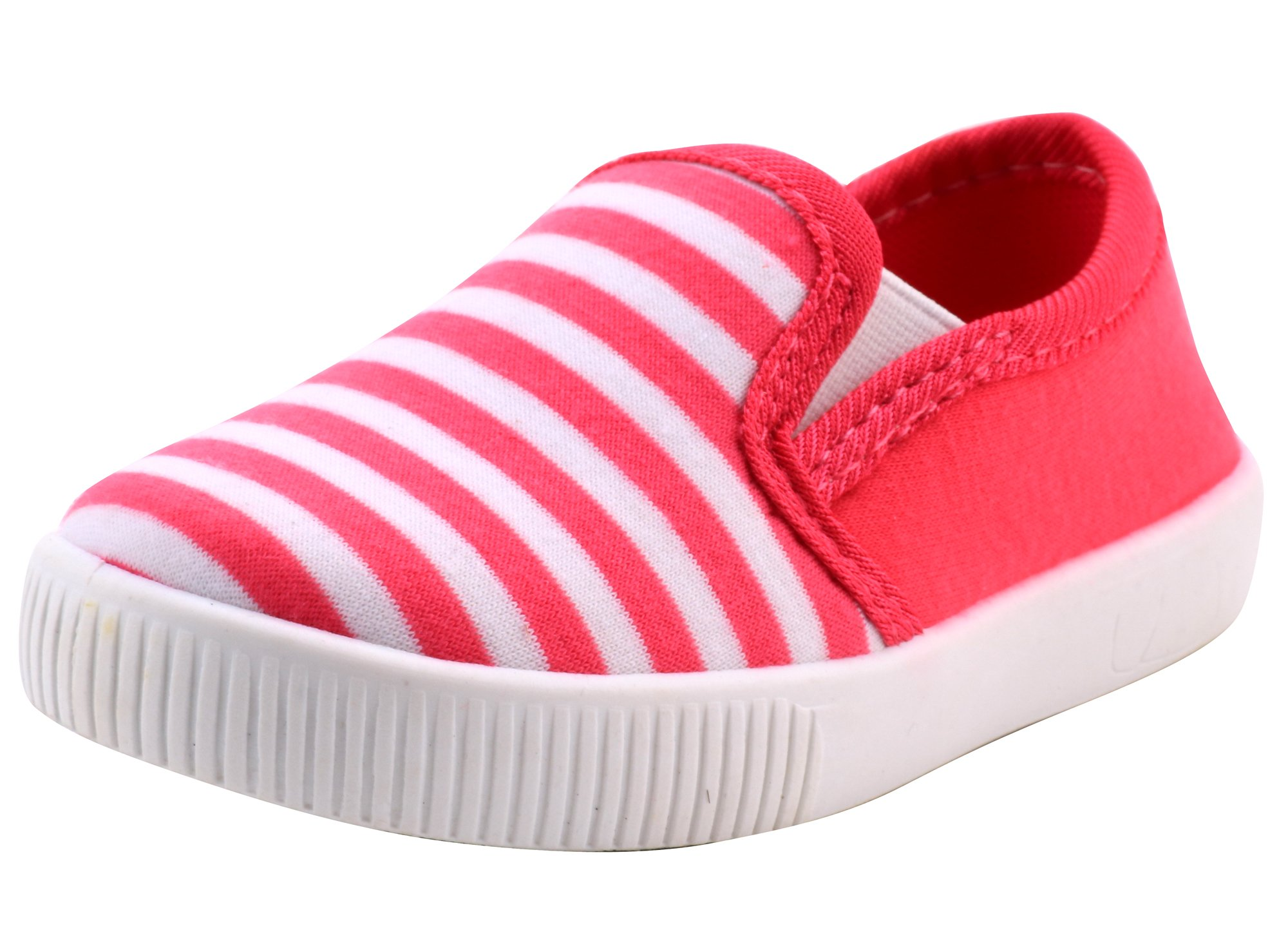 LONSOEN Toddler Boys Girls Fashion Casual Slip-on Loafers Classic Sneakers SHF105 Hot Pink CN20
