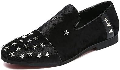 Men's Velvet Slip On Penny Loafer Stylish Vintage Moccasin Luxury Textured Smoking Shoes