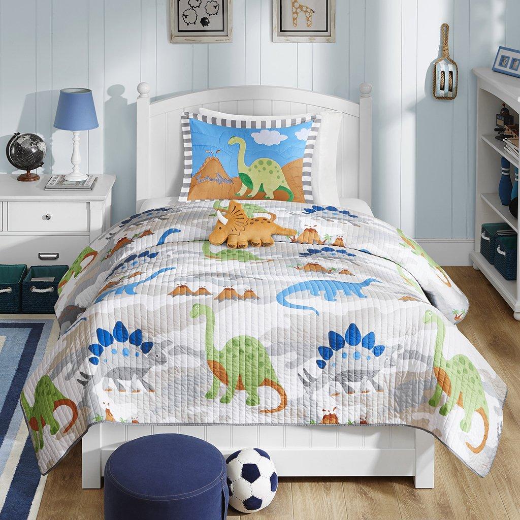 Amazon.com: Mi Zone Kids Little Foot Twin Bedding Sets Boys Quilt Set    Grey, Blue, Orange , Dinosaur U2013 3 Piece Kids Quilt For Boys U2013 Cotton  Filling Ultra ...